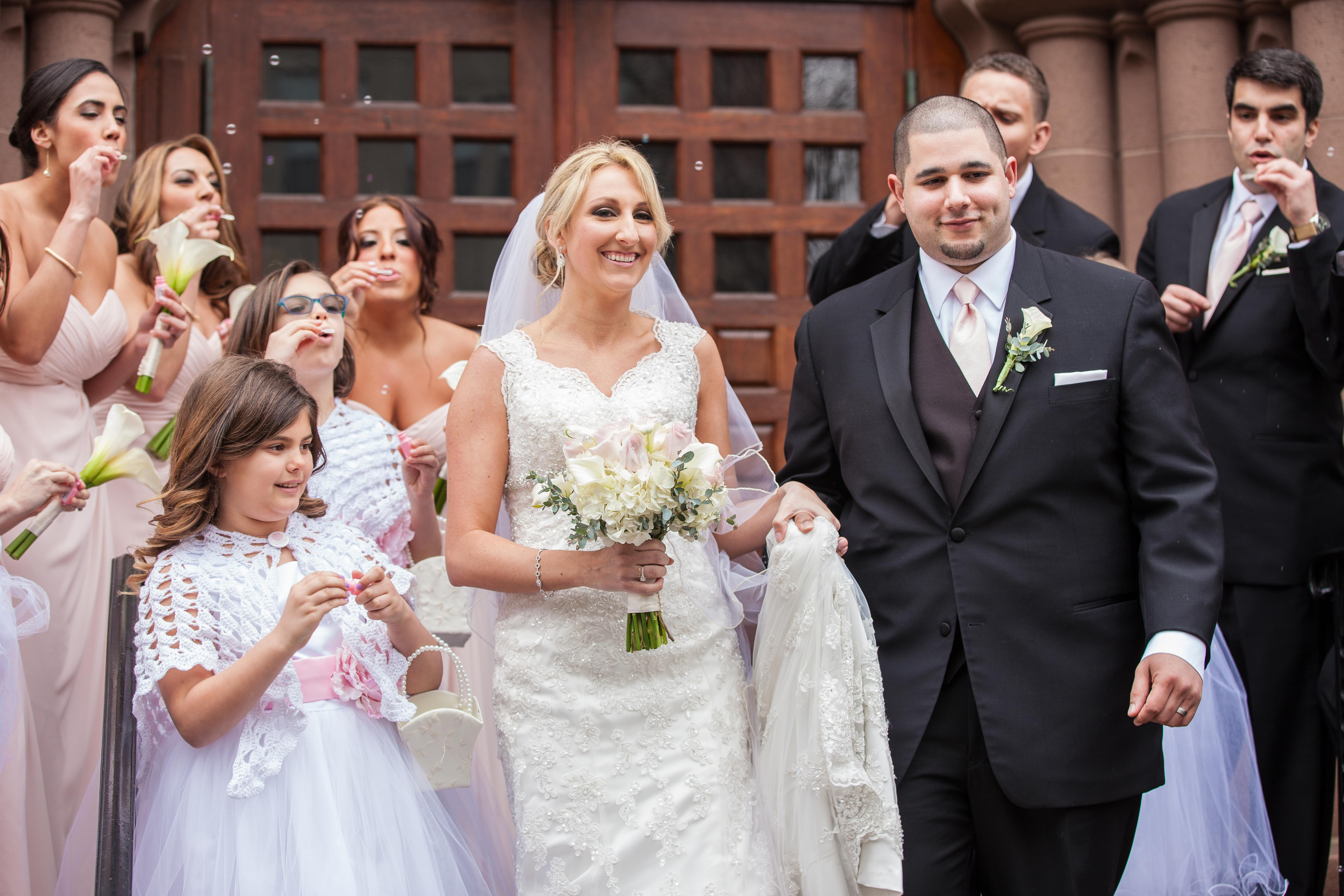 wedding party at First Congregational Church stamford ct wedding