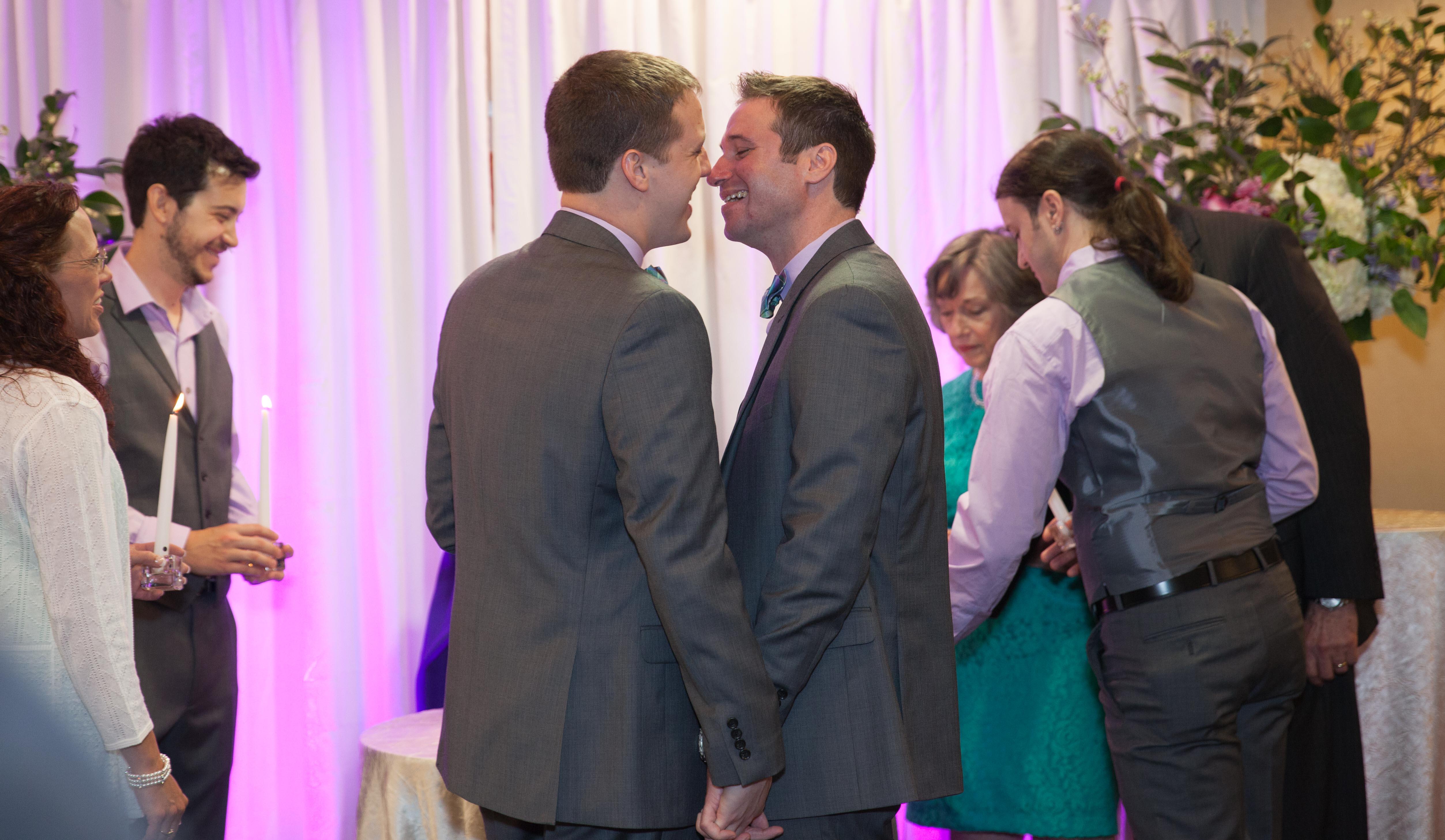 same sex wedding photo taken at the Hyatt Greenwich CT